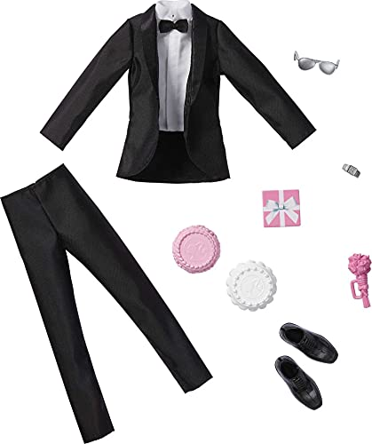 Barbie Fashion Pack: Bridal Outfit for Ken Doll with Tuxedo, Shoes, Watch, Gift, Wedding Cake with Tray & Bouquet, Gift for Kids 3 to 8 Years Old