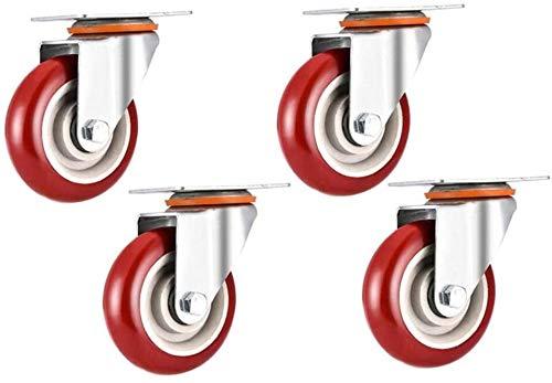4 × hjul, 75/100 / 120mm Heavy Duty Broms Caster, Silent Möbler Byte av Castor, Kontorsstol Vagnshjul Hjul Stötdämpare, Ladda 400kg (Color : A, Size : 145mm)