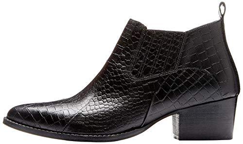 find. Croc Embellished Leather Botines, Negro Black, 40 EU
