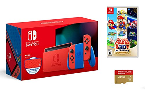 Latest Nintendo Switch Bundle: Mario Red & Blue Edition, Super Mario 3D All-Stars, and Woov Micro SD 256GB