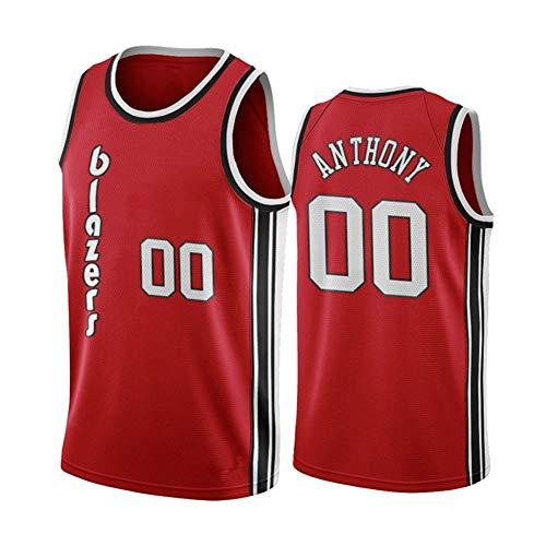DXG NBA Portland Trail Blazers #0 Anthony - Camiseta de baloncesto profesional, poliéster, secado rápido, transpirable, ligera, color rojo, XXL