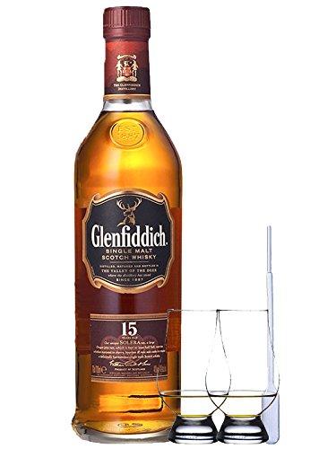 Glenfiddich 15 Jahre Single Malt Whisky 0,7 Liter + 2 Glencairn Gläser und Einwegpipette