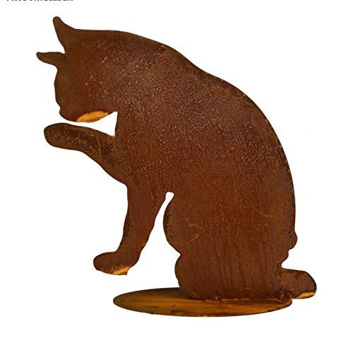 Edelrost Katze putzend auf Bodenplatte 28x28cm Garten Deko Rost Tierfigur