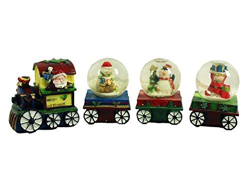 HAAC - Set ferroviario con sfere agitate e Babbo Natale, 22 cm x 7,5 cm, per Natale