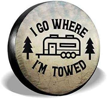 Ouqiuwa Happy Camper I Go Where I m Towed Spare Tire Covers Wheel Protectors Weatherproof for product image