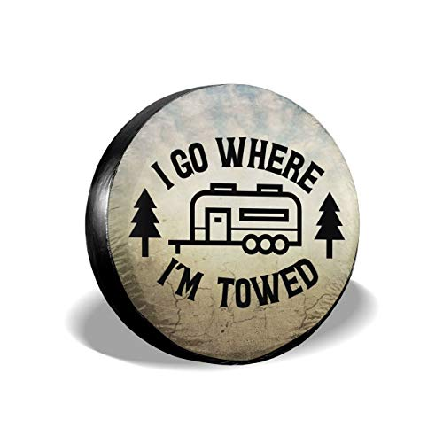 Ouqiuwa Happy Camper I Go Where I'm Towed Spare Tire Covers Wheel Protectors Weatherproof for Camper Trailer RV SUV (15' fits for tire Diameter 70-75cm/27.5-29.5in)