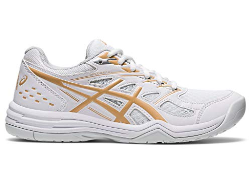 ASICS Women's Upcourt 4 Indoor Sport Shoes, 8.5, White/Champagne