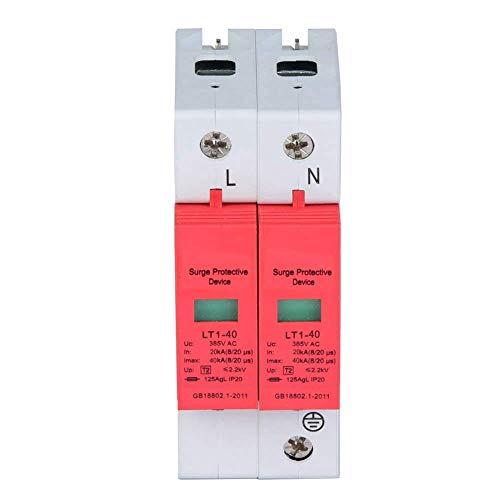 Hus överspänningsskydd, 385 V 20 KA 2P lågspänningsstoppenhet, brandsäkert hölje, snabbt ljusskydd, skydda din elektriska säkerhet (2 P40 KA)