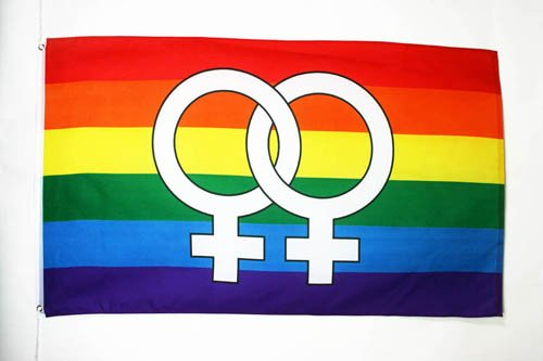 AZ FLAG Flagge Regenbogen DOPPELTER GROßER GEKOMMENE 150x90cm - LESBE Fahne 90 x 150 cm - flaggen Top Qualität