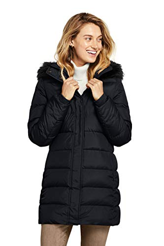 Lands' End Women's Long Down Coat with Removable Faux Fur Hood for Winter and Fall Black