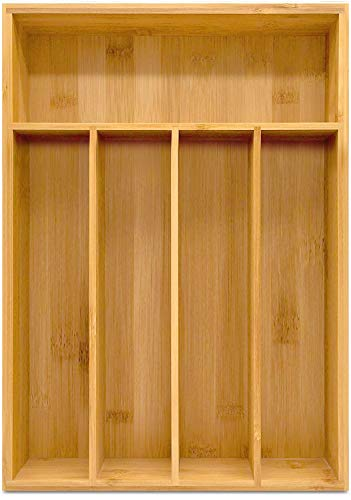 Utopia Kitchen Bamboo Silverware Organizer- 5 Compartments - Bamboo Drawer Organizer - Bamboo Hardware Organizer 1-Pack