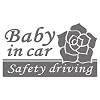 imoninn BABY in car ステッカー 【シンプル版】 No.40 バラ (シルバーメタリック)