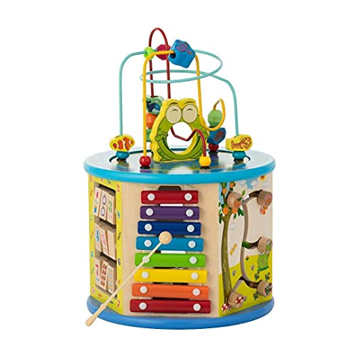 Activity Cube For Toddlers 1-3   Educational Toys 8-in-1 Learning Center for Boys & Girls   Xylophone - Spin Gear - Flip Board - Shape Sorter - Abacus -Tic Tac Toe - 2 Fun Mazes(BIGGER SHAPES VERSION)