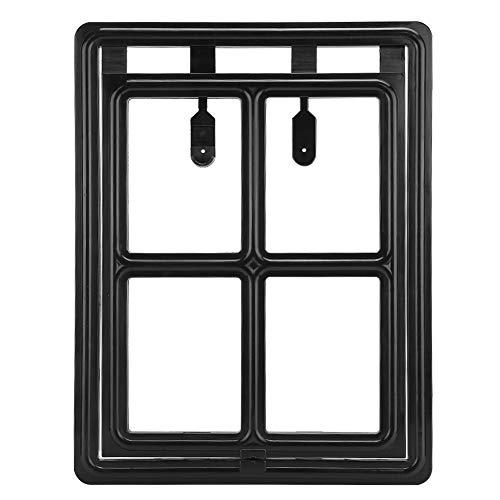 keyren 45,5x35,5x1,5 cm Magnetisch abschließbar Schwarz Schnellinstallationsklappe für Hunde, Tür für Haustierklappen, Fenster für die Haustür(Black, Type A)