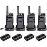 Retevis RT68 Walkie-Talkies Rechargeable Long Range FRS USB Two Way Radios VOX Handsfree 2 Way Radios Adults Kids Family(4 Pack)