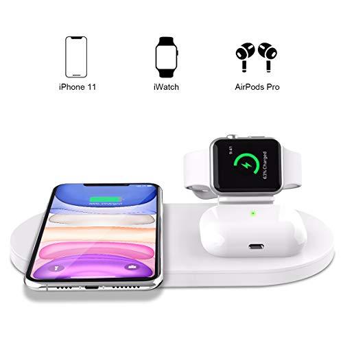 Yaature 3 in 1 Caricatore Wireless per Apple Watch 4/3/2/1 & Airpods PRO/2, Qi Stazione di Ricarica Rapida per iPhone 11/11 PRO Max/11 Pro/XS/XR/X/8/8 Plus, Samsung S20 / S20 + / S10 - Bianco