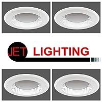 JET LIGHTING 5インチ/6インチ 調光機能付き LED レトロフィット 埋め込みダウンライト トリム 12W ホワイト バッフル仕上げ エネルギースター、UL規格認定 タイトル24 カリフォルニアJA8 2016-E準拠 4 PACK