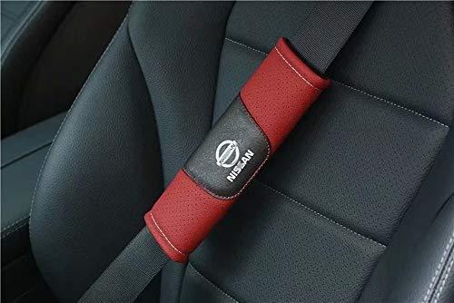 Aojiek 2 StüCk Auto Gurtpolster Leder FüR Nissan Gurtschutz GüRtelkissen Schutzkissen Schulterpolster FüR Sicherheitsgurt Gurtschoner Erwachsene