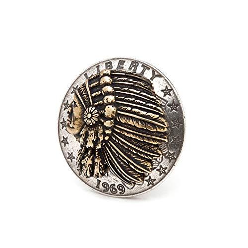 [ファニー] チーフ ヘッド インディアン トロフィー コンチョ 31mm [ネジ式] カスタム パーツ ボタン (2個セット)