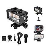 iEago RC Waterproof Flash Diving Light Underwater High Power LED Fill Light Chargeable Battery for DJI OSMO Action/GoPro Hero 6/5/4/3/2 SJCAM/Action Cameras Accessories