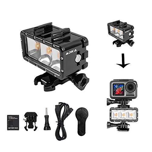 iEago RC Luce subacquea Ad alta potenza 300 lumen GUIDATO video Luce Riempire Sott'acqua Luce notturna Dimmerabile per DJI OSMO Action/Gopro Hero 3 4 (100 piedi di profondità)