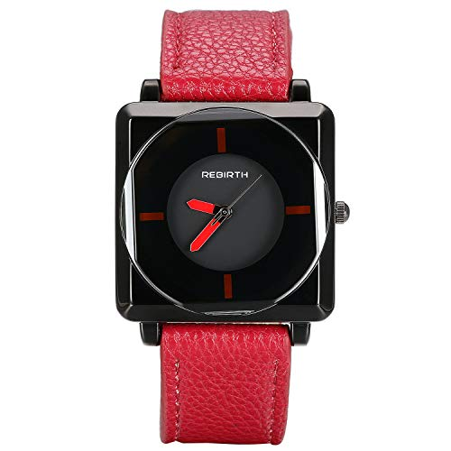 Lancardo Reloj de Correa Elegante para Mujer Reloj de Cuarzo Pulsera de Cuero Rojo Esfera Negra Cuadrada Dial Redondo Multicapas sin Número Movimiento Importado 3 ATM Impermeable Moda Diseño