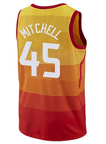 #45 Baloncesto Jersey Jazz Equipo Donovan Mitchell 45 Baloncesto Sin Mangas Camiseta Chaleco Ropa Deportiva, 123, 123, color naranja, tamaño large