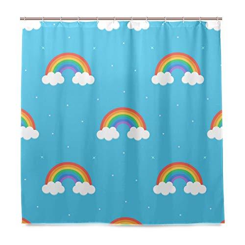 Orediy Badezimmer-Duschvorhang, Cartoon-Regenbogen-Motiv, wasserdicht, Anti-Schimmel, Polyester, 180 x 180 cm, mit Haken
