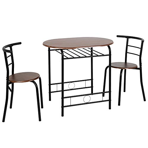 Bonnlo 3 Piece Dining Table Set Breakfast Bistro Pub Table with 2 Chairs Compact Size Table and 2 Chairs (Walnut)