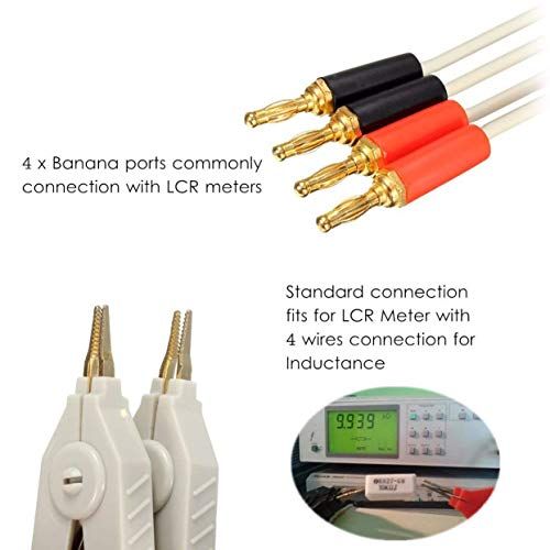 Banana Plug Chiloskit LCR Meter Test Leads Lead Clip Cable Terminal Kelvin Probe Wires with 4 Banana Plugs