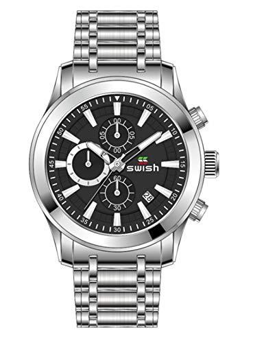 MLHXHX Reloj de hombre de acero inoxidable con cuarzo calendario, luminoso, resistente al agua, reloj de hombre plateado
