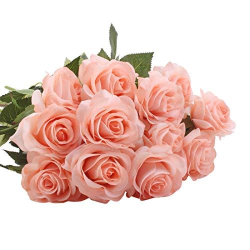 cherrboll 10 künstliche Blumen, Echte Haptik, Blumenstrauß Wie Frische Rosensträuße Braut für Hochzeit Party Zuhause Garten Dekoration 6#Champagne