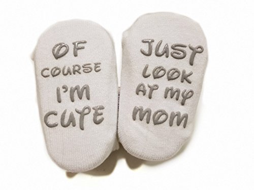 Baby Socks Gift Set - Unique Baby Shower or Newborn Present   Cute Fun Quotes for boys & girls 4 Pairs 3 - 15 mnths