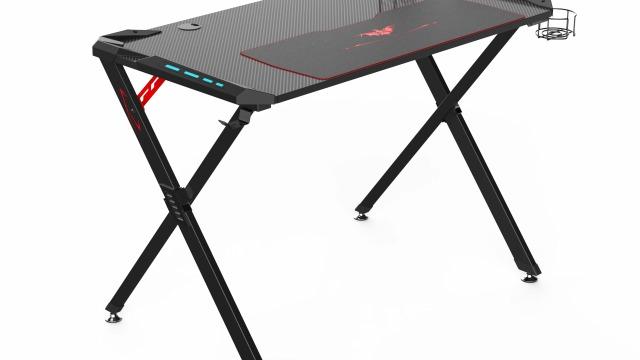 """EUREKA ERGONOMIC X1-S Gaming Computer Desk 44.5"""" Gamer Desk PC Table Gaming Desks with LED Lights Large Carbon Fiber Surface Cup Holder Headphone Hook for Men Boyfriend Female Gift"""