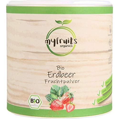 myfruits Bio Erdbeerpulver, 100% Bio Erdbeeren ohne Zusätze, gefriergetrocknet. Fruchtpulver für Smoothie, Shakes & Joghurt. (250g)