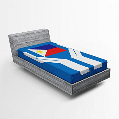 Ambesonne Filipino Fitted Sheet, Two Hands Holding Showing Philippines National Flag Independant Country Concept, Soft Decorative Fabric Bedding All-Round Elastic Pocket, Twin Size, Multicolor