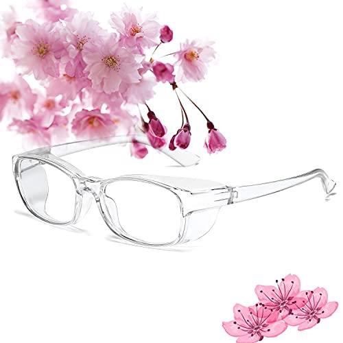 花粉メガネ ゴーグル 曇り止め ブルーライトカット 紫外線 粉塵 飛沫 にも対策 UV400 保護めがね 伊達眼鏡 曇らない 軽量 花粉症対策 メガネ,クリア