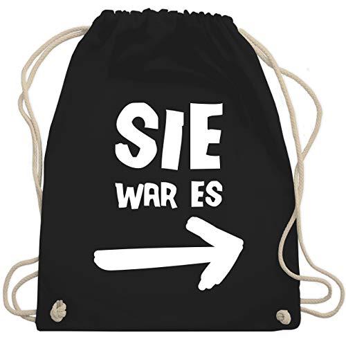 Sprüche Statement mit Spruch - Sie war es - Unisize - Schwarz - turnbeutel spruch - WM110...