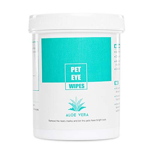 HudsonPets Aloe Vera 150 Panni per la Pulizia degli Occhi umidi per Cani e Gatti