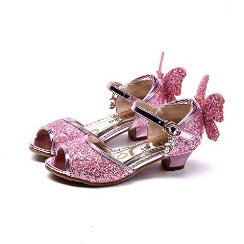 Prinzessin Schuhe für Mädchen, Dorical Prinzessin Gelee Partei Absatz-Schuhe Sandalette Stöckelschuhe Bling Bowknot einzelne Sandalen Säuglingsschule Walker Schuhe für Kinder(Z2-Rosa,30 EU)