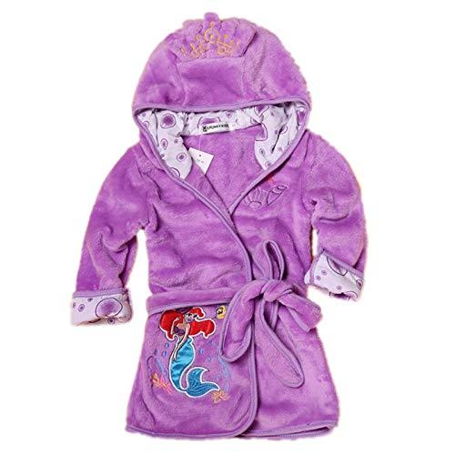 Fankeshi - Accappatoio con cappuccio per bambini e bambine - Viola - 120 cm(5 anni)