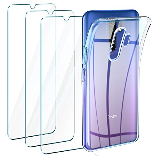Leathlux Cover Compatibile con Xiaomi Redmi 9 Custodia Trasparente con 3 Pellicola Vetro Temperato, Morbido Silicone Protettivo Bumper TPU Gel Smartphone Custodia Case
