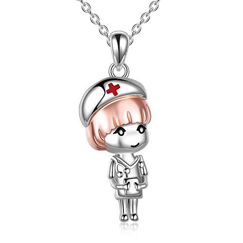 VONALA Collar de enfermera de plata de ley, lindo colgante de dibujos animados, regalo para enfermera, doctor y estudiantes de medicina