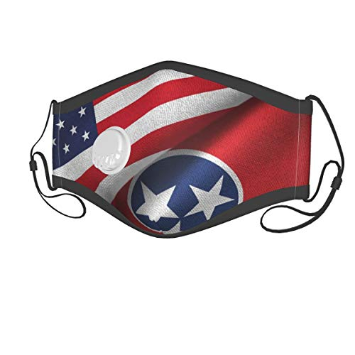 Tennessee State Flag Kids Reusable Face Mask Cover Anti Dust Mask with Breathing Valve and Filters