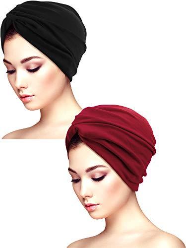 Yaomiao 2 Stücke Schlaf Weichen Turban Kappen Gedruckt Turban Hut Schlaf Hut Headwears für Damen (Farbe Satz 6)