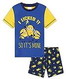 Minions Pijamas Niños, Pijamas Verano para Chico Y Adolescente, Conjunto Niño Camiseta Y Pantalón Corto Niño De Algodón 2-14 Años (Azul, 5-6 años)