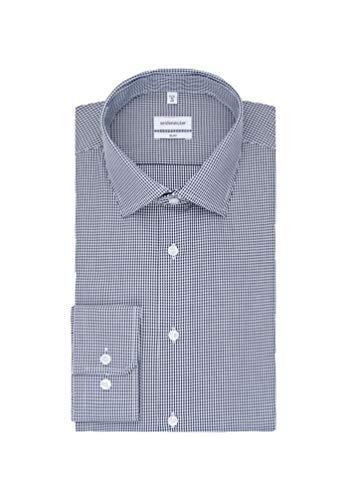 Seidensticker Herren Business Hemd Slim Fit – Bügelfreies Businesshemd, Blau (Dunkelblau 19), (Herstellergröße: 45)