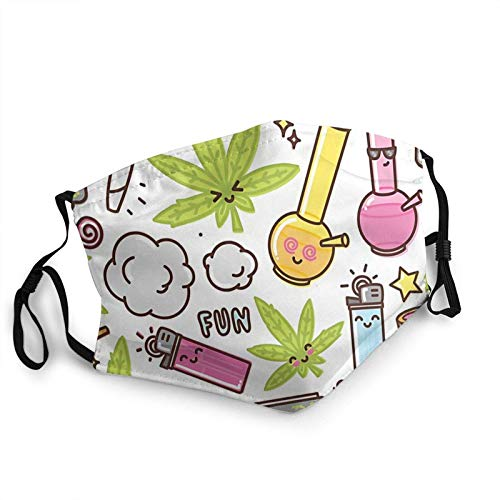 Camisa House Marihuana Kawaii Cartoon Weed Face Cover Reutilizable, lavable Paño para la cara, para parejas, cómoda máscara lavable,