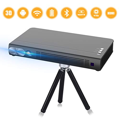 3D videoprojector mini beamer Android 7.1 DLP LED Wireless Portable 1080P WiFi 3D mini beamer T5 zwart