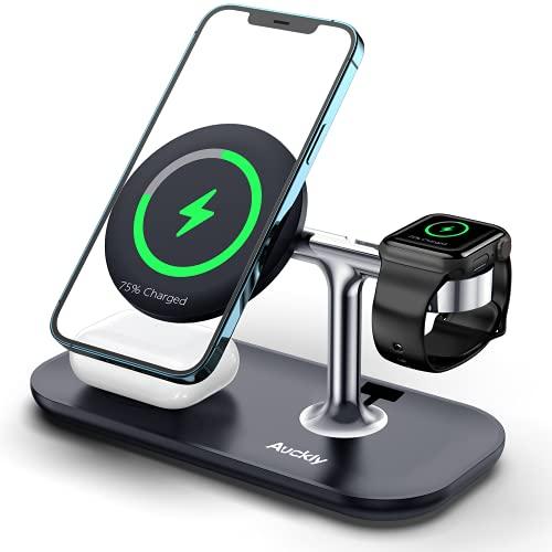 Auckly 3 in 1 Qi 15W Magnetisch Wireless Charger,Kabelloses Ladegerät kompatibel mit MagSafe Handyhalterung für iPhone 12/13/Pro/Max/Mini,Fast Induktive Ladestation für Apple Watch 1-7,Airpods Pro